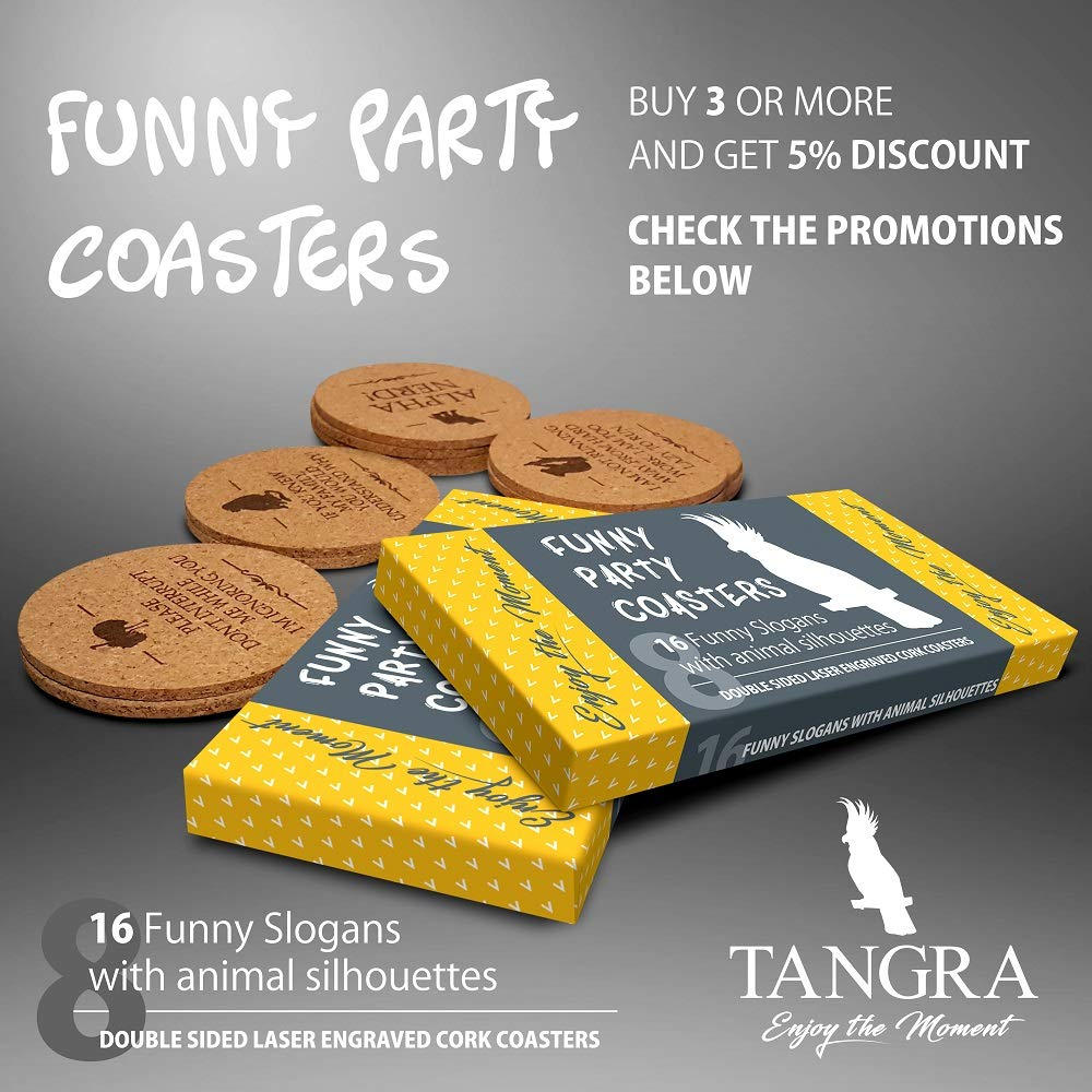 TANGRA Funny Party Cork Coasters Set of 8 Double Sided Laser Engraved with  16 Quotes  Have Fun for Birth Day for Man or Woman  Large Absorbent Bar