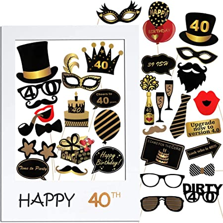 VINFUTUR 40th Cumpleaños Photo Booth Props, 35pcs Photobooth Cumpleaños Accesorios Fotocall para Cabina de Foto Props Fiesta Kit+Marco Photocall para ...