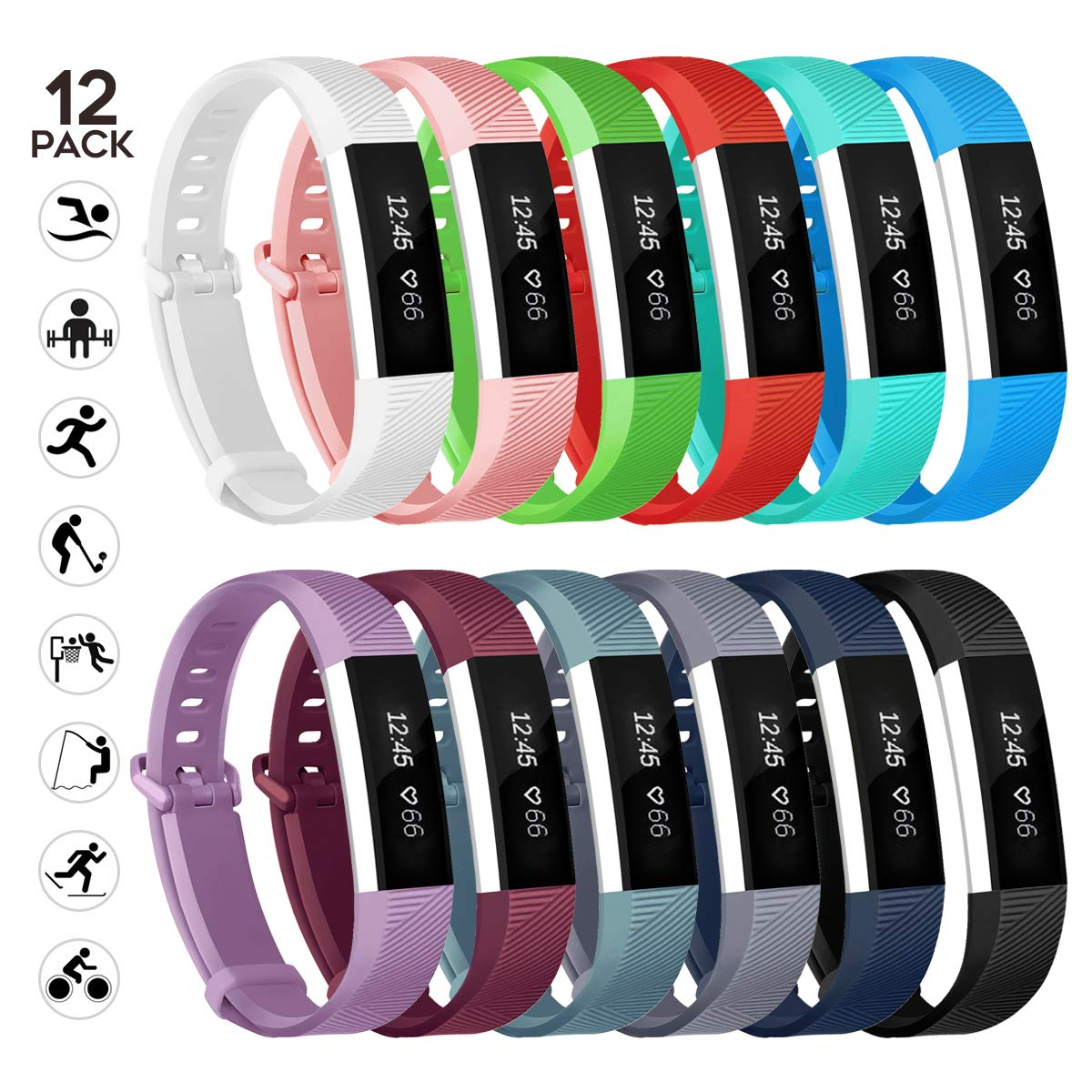 sunyfeel Compatible with Alta HR and Alta Band Replacement, Fashion Sports Silicone Personalized Replacement Bracelet with Metal Clasp for Alta HR/Alta (Small, 12pcs)