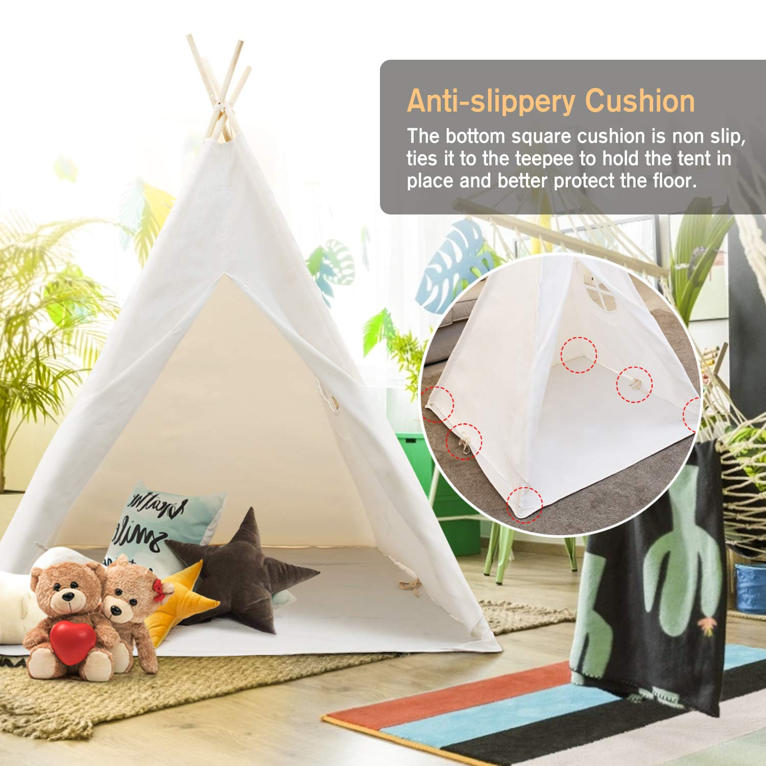 Peradix Indian Teepee Tent for Kids, Play Tent for Indoor Outdoor Activity Playhouse Game with Flags and Cushion
