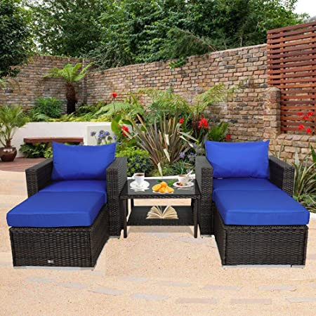 img buy Outdoor Rattan Couch Wicker Sectional Conversation Sofa Set Lawn Garden Patio Furniture Set Brown Rattan Royal Blue Cushion