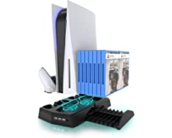 PS5 Accessories Stand, KIWIHOME PS5 Cooling Stand with Suction Cooling Fan and Dual Controller Charger Station for Playstatio