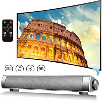 Barra de Sonido TV, Barra de Sonido con Cable e inalámbrico Bluetooth Home Theater TV Altavoz, Barra de Sonido Envolvente para TV, PC, teléfono Celular,Oro: Amazon.es: Electrónica