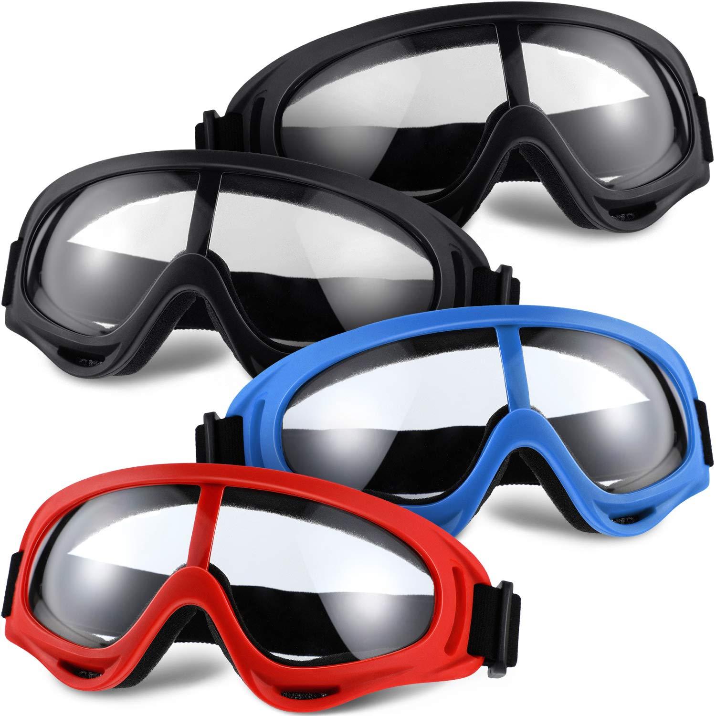 4 Pares de Gafas Protectoras Gafas de Juego de Seguridad Gafas Protectoras Multicolores Anti-Impacto a Prueba de Viento con Bandas Elásticas para Senderismo de Juegos