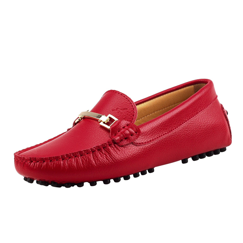 Shenduo Classic, D7067 Mocassins Femme de Cuir - - Loafers Multicolore - Chaussures Bateau & de Ville Confort D7067 Rouge e193129 - therethere.space