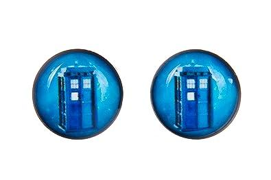 TV Inspired Blue Tardis 8mm Stainless Steel Stud Earrings in Gift Box qnmkeu