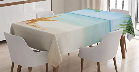 Ambesonne Ocean Decor Tablecloth, Graphic Of Summer Sandy Beach With  Majestic Starfish On Tropical Hawaiian