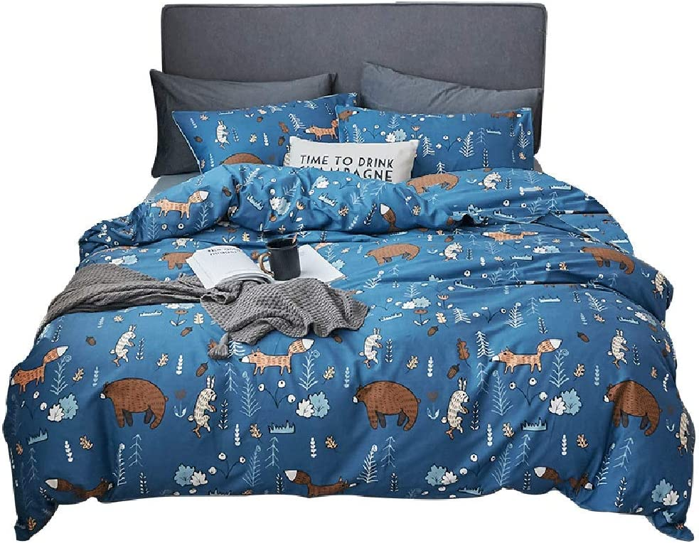 Jumeey Toddler Boys Twin Bedding Sets Blue Bear Duvet Cover Cotton Kids Animal Bedding Twin Bear Bedding for Boys Cartoon Bedding Sets Twin Girls Fox and Rabbit Patterned Duvet Cover Woodland Bedding