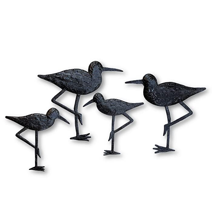 "New Sandpiper Coastal Birds, Ornamental Sea Birds, Decorative Home Art, Nature Inspired, Handmade in Haiti (4, Large & Small) 8.5"" X 9"", 6.5"" X 6.5"""