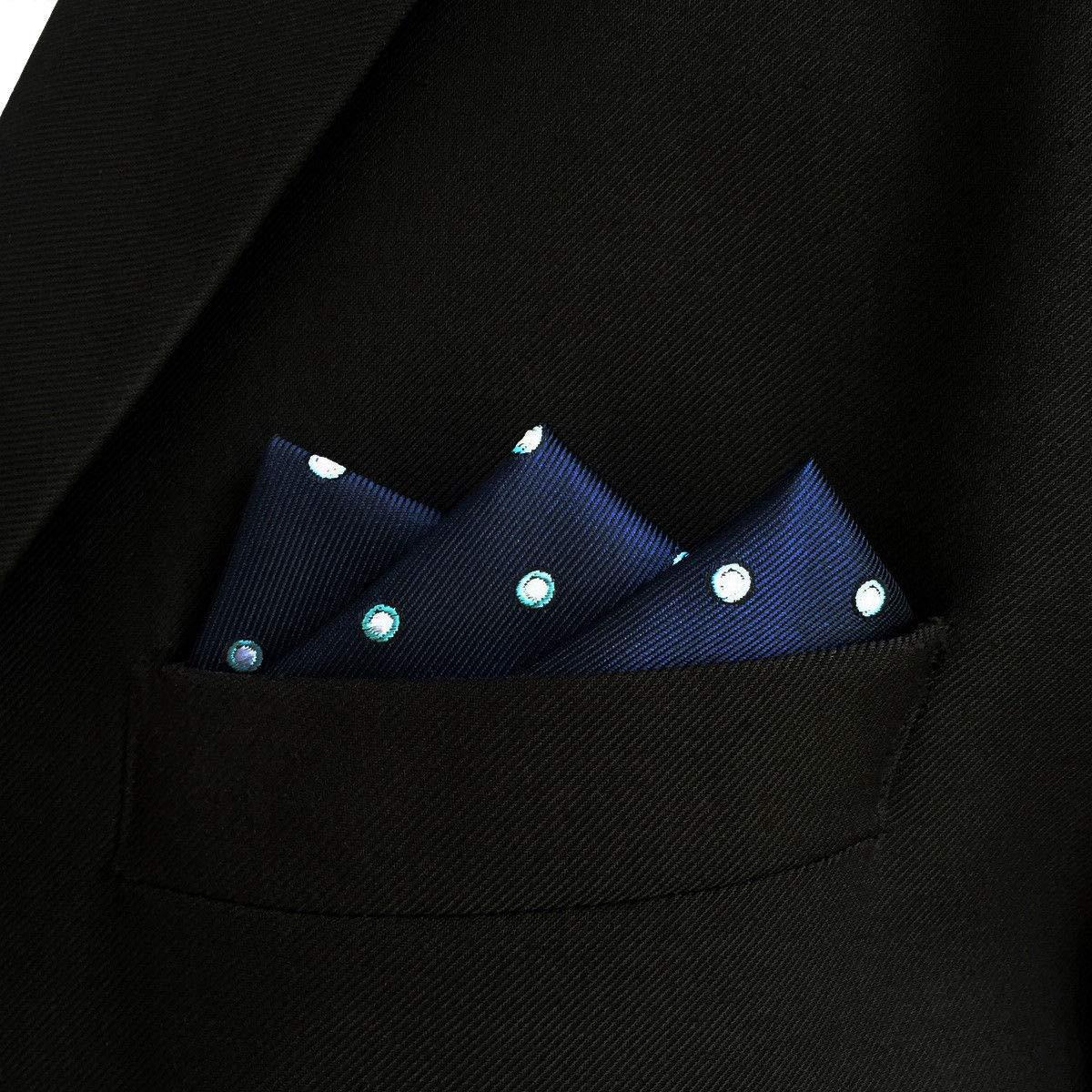 SHLAX/&WING Azul DE LOS HOMBRES Pa/ñuelo De Bolsillo Puntos Puntos Traje de negocios for Suit Jacket 32cm