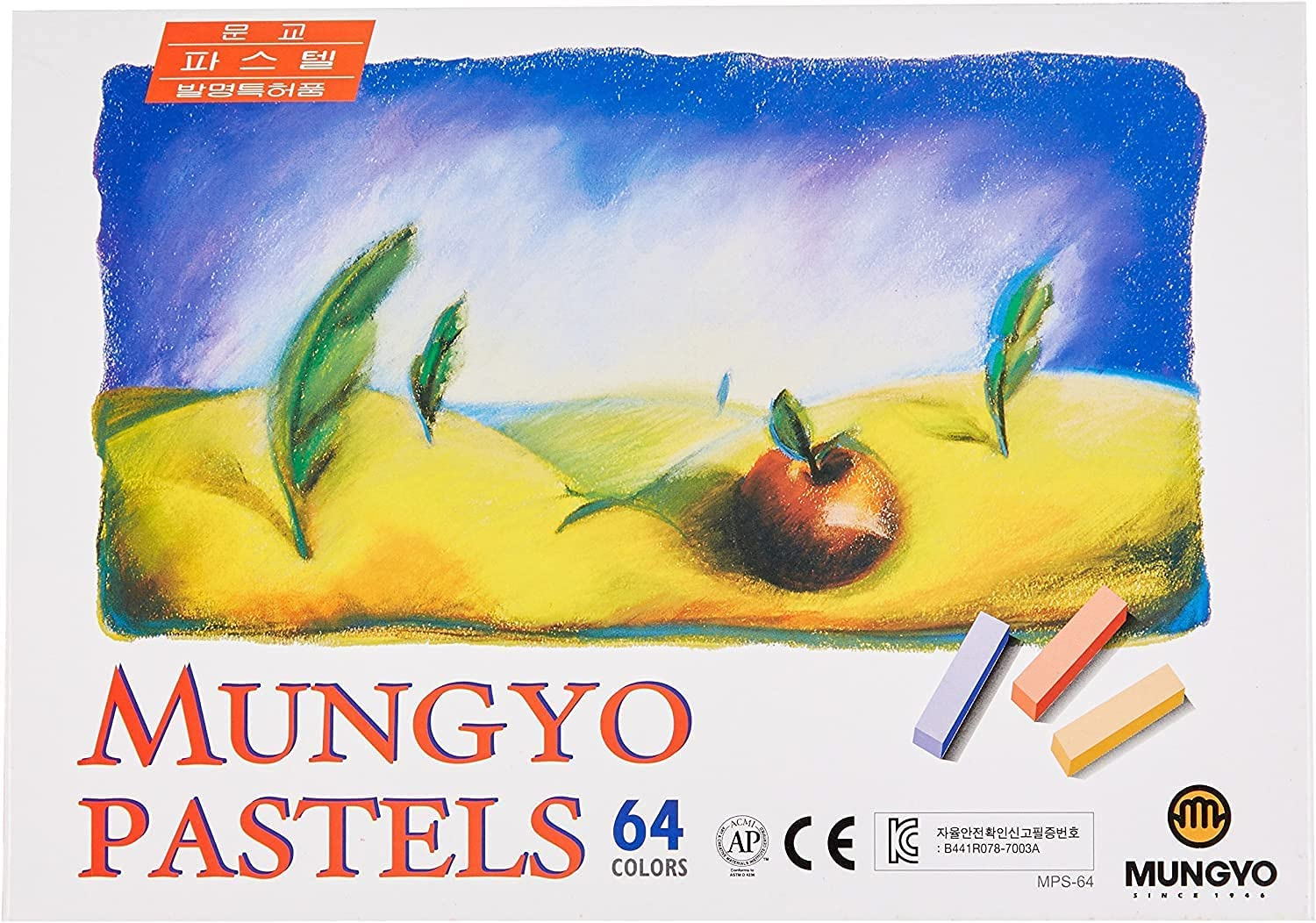Mungyo Non Toxic Square Chalk Assorted Colors Soft Pastel 64 Pack