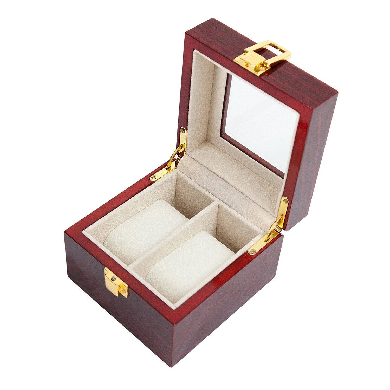 VARANDA - Scatola espositore in legno per 2 orologi, colore: rosso FUNGKI