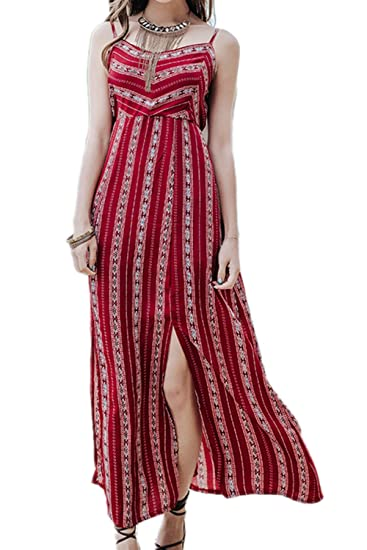 5275128767a Zojuyozio Women Summer Casual Bohemian Beachwear Maxi Dress Slit Tunic  Dresses at Amazon Women s Clothing store