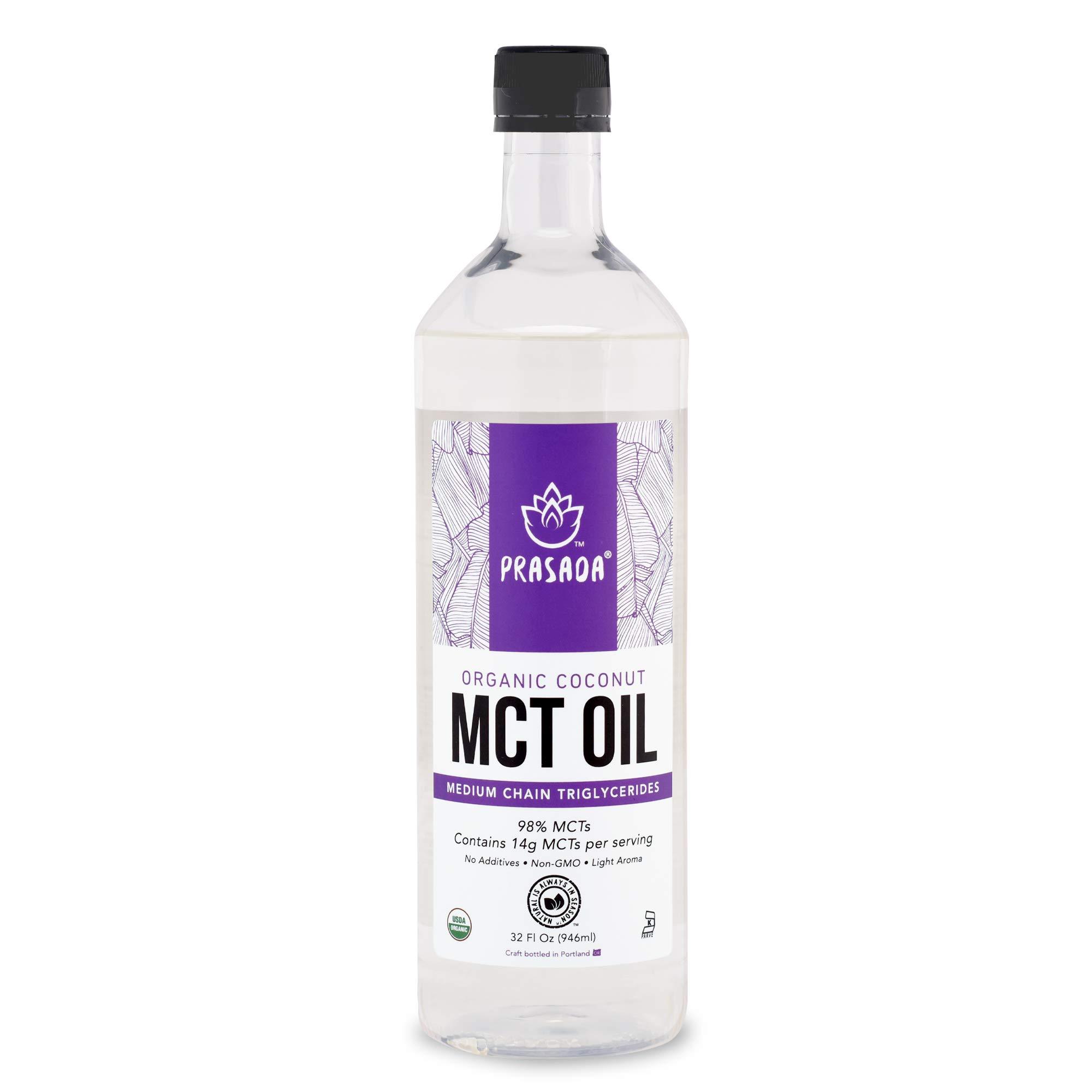 Prasada Organic MCT Coconut Oil (32oz) | 14g MCTs per Serving | USDA Organic, Non-GMO, BPA-Free Food-Grade Plastic Bottle | Keto Friendly | C8: 7.7g, C10: 6.1g by Prasada