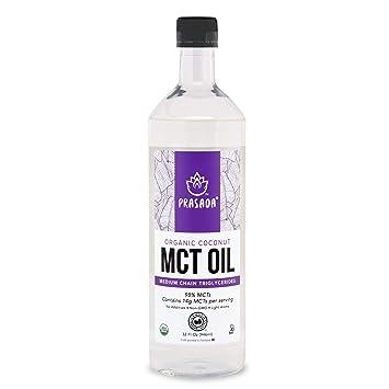 Prasada Organic MCT Coconut Oil (32oz)   14g MCTs per Serving   USDA  Organic, Non-GMO, BPA-Free