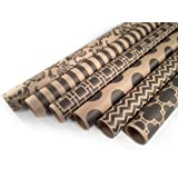 """Kraft and Black Wrapping Paper Set - 6 Rolls - Multiple Patterns - 30"""" x 120"""" per Roll"""
