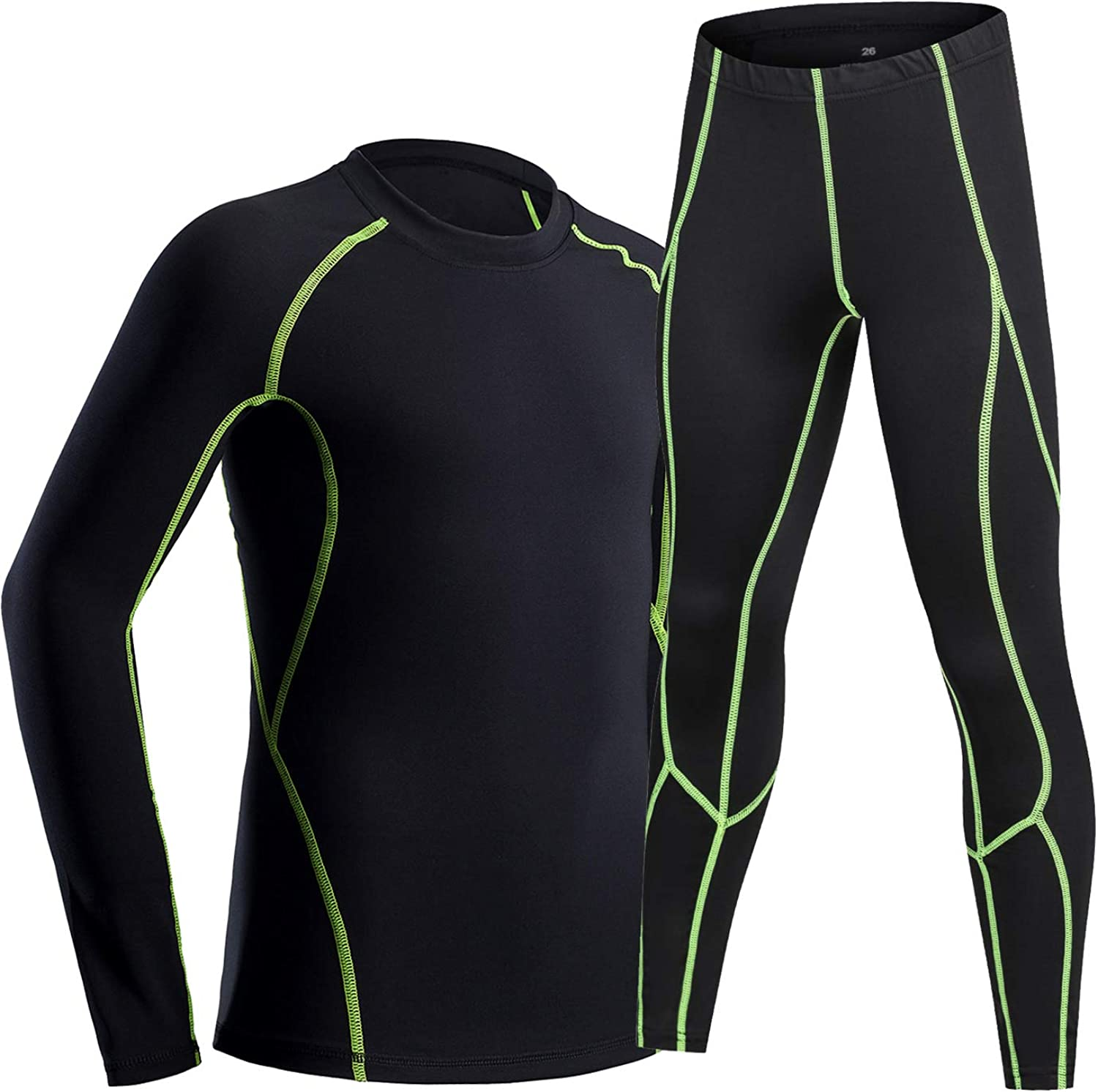 LNJLVI Boys Girls Athletic Base Layers Compression Leggings and Long Sleeve Shirts Set