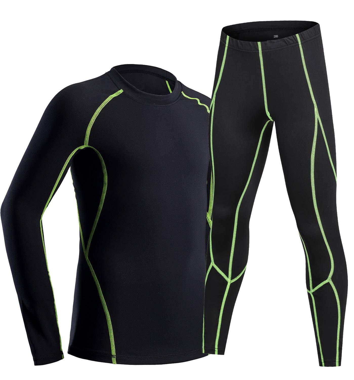 LNJLVI Boys Girls Thermal Underwear Set Long Sleeve Shirt Base Layer Tops and Pant 2 Pcs(Black-Green,10) by LNJLVI