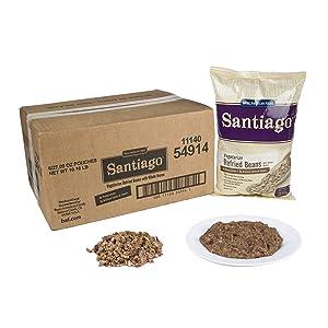 Santiago Whole Vegetarian Refried Beans - 27.09 oz. pouch, 6 pouches per case