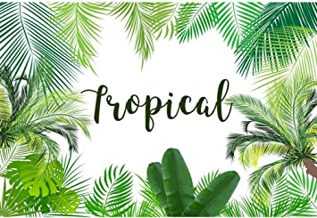 8x6.5ft Cartoon Artistic Tropical Leaves Illustration Polyester Photography Background Summer Party Wedding Shoot Backdrop Indoor Decoration Wallpaper Foliage Studio Props