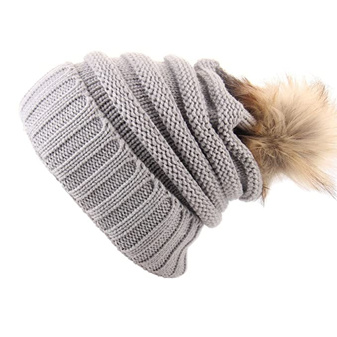 412522729 Faux Fur Pom Pom Knitted Beanie Hat Soft & Chunky Cable Bobble ...
