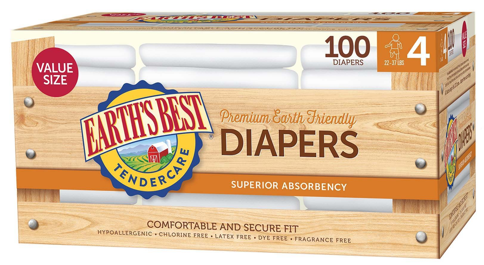 Earth's Best TenderCare Chlorine-Free Disposable Baby Diapers, Size 4 (22-37 lbs), 100 Count by Earth's Best