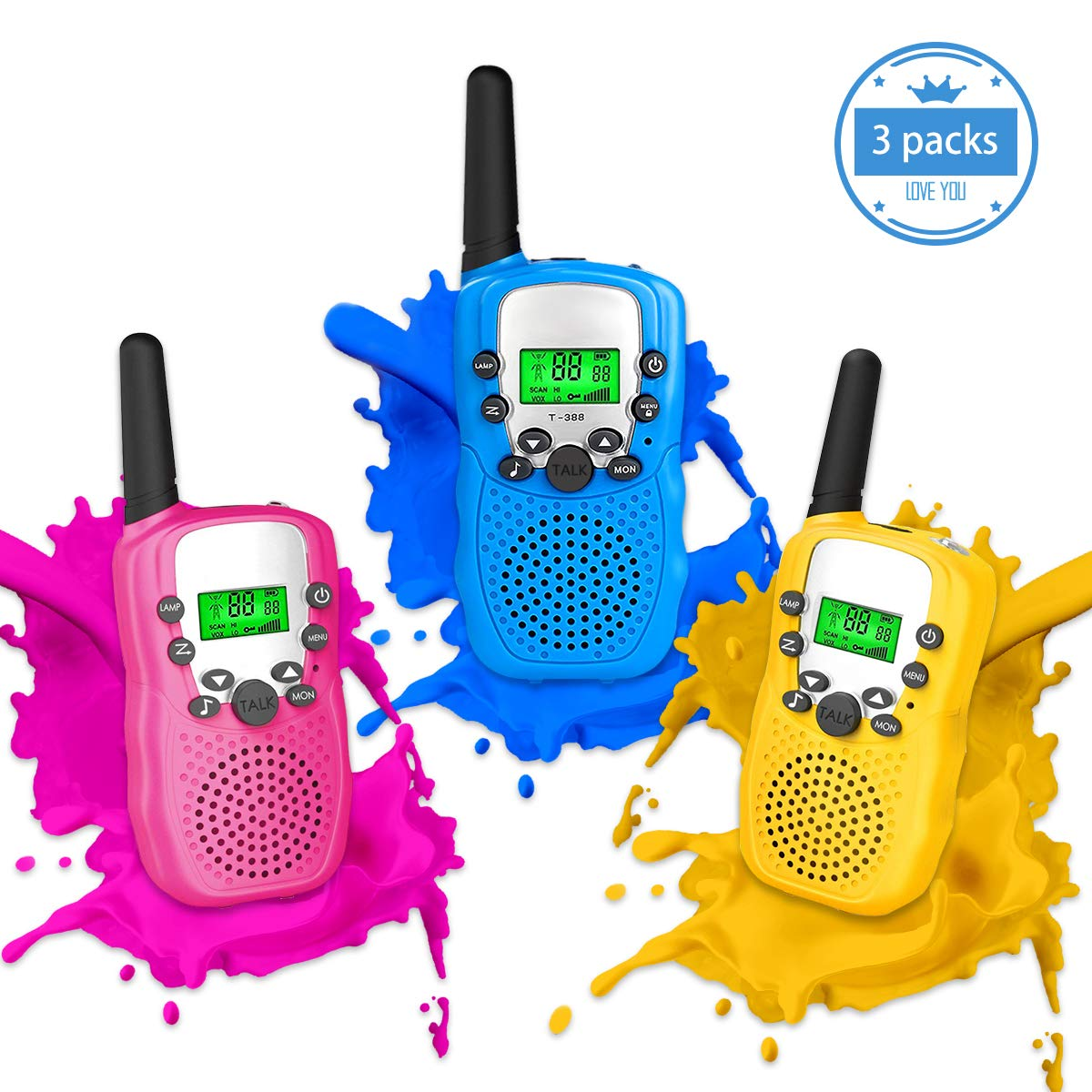Outdoor Toys for 5-10 Year Old Boys Girls Pussan Kids Walkie Talkies 3 Pack Long Range 2 Miles 22 Channels Kids Camping Outside Summer Games Walky Talky for Children Gifts by Pussan (Image #1)