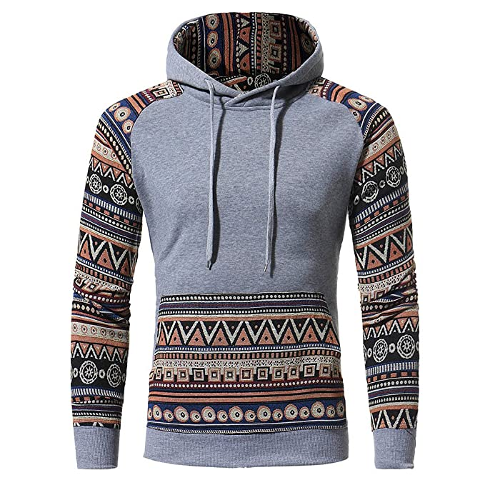 Simayixx Hoodie for Men Big and Tall, Vintage Print Patch Sweatshirts Plus Size 3XL Long Sleeve Retro Pullover Tops Coats at Amazon Mens Clothing store: