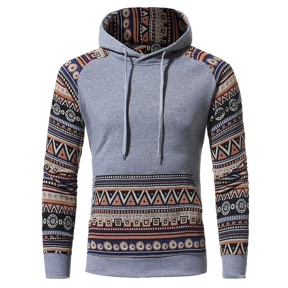 Theshy Men Retro Long Sleeve Hoodie Hooded Sweatshirt Tops Jacket Coat Outwear