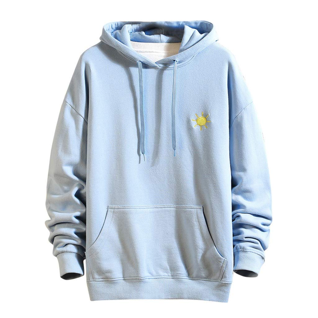 VZEXA Mens Hoodies Print Hooded Drawstring Sweatshirt Long Sleeve Casual Loose Tops(Light Blue,L) by VZEXA