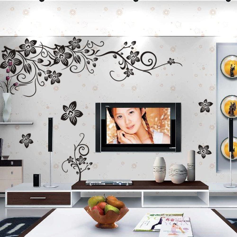 Amaonm Removable Vinyl Black Flowers and Flower Vines Wall Decals DIY Home Art Decor Decorative Wall Sticker Murals for Bedroom Living Room Tv Sofa Background Offices Wall Decorations