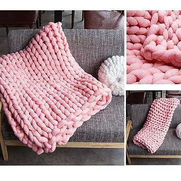 Grobstrick Decke Waschbar Handgefertigt Chunky Soft Knit