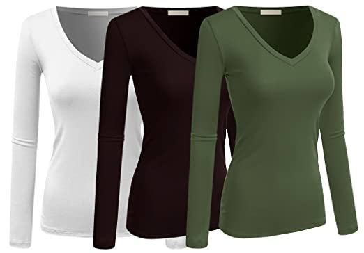 db96cfdb9d84 Image Unavailable. Image not available for. Color: The Lovely Active Women  Basic Solid Plain V-Neck Casual Long Sleeve T Shirt Top