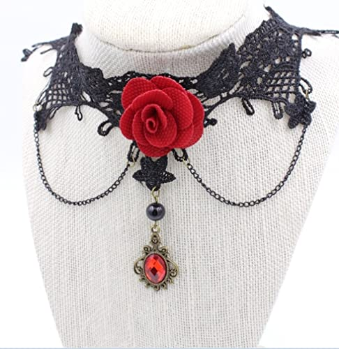 03c7e7ea730c2 Image Unavailable. Image not available for. Color: Steampunk - Stunning Red  Rose Lace Choker Necklace - Gothic ...