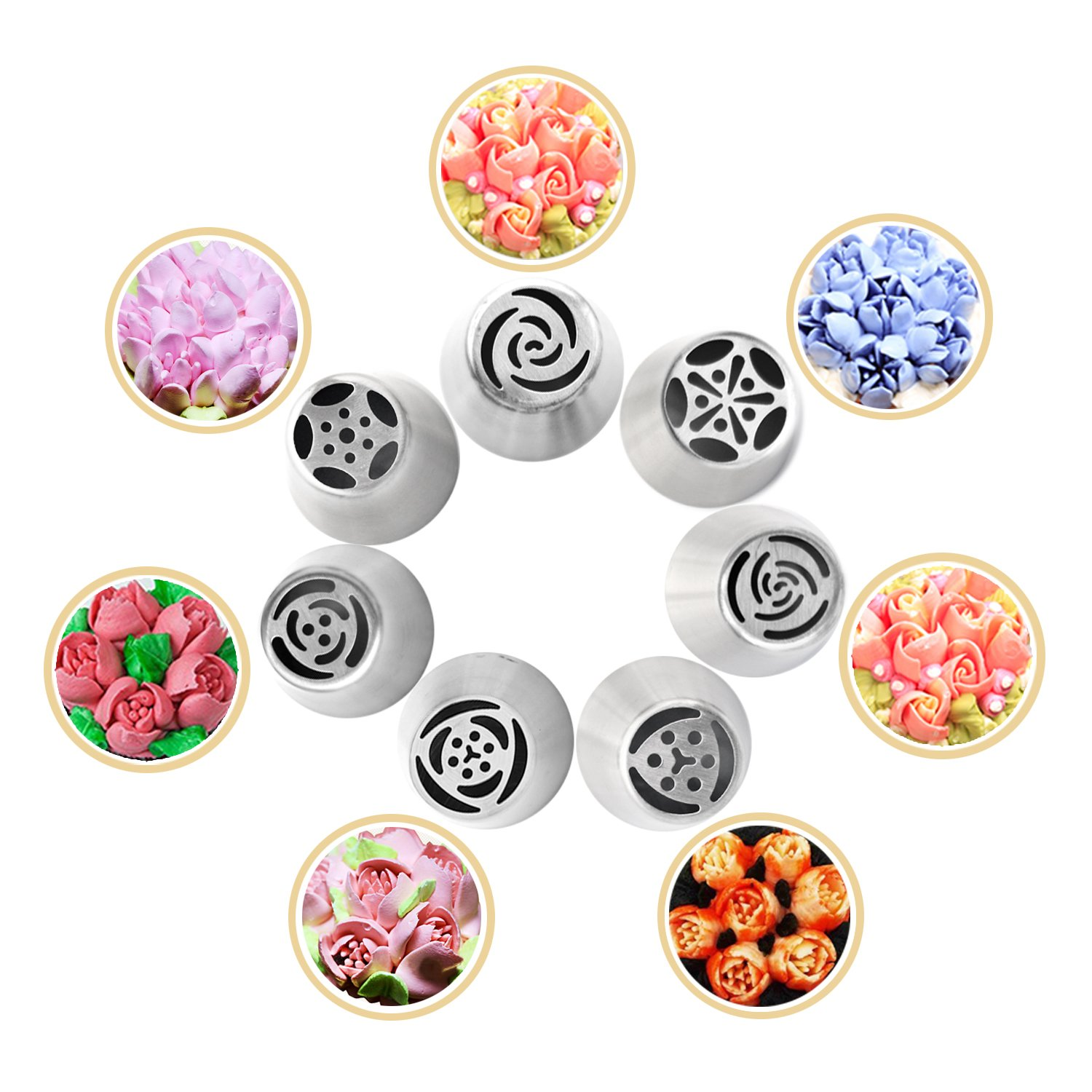 7Pcs Russian Piping Tips for Cake Baking Supplies, Professional Stainless Steel DIY Icing Tip Set Tools with Large Size, Cake Decorating Tips e-sports Biaohuazui-1
