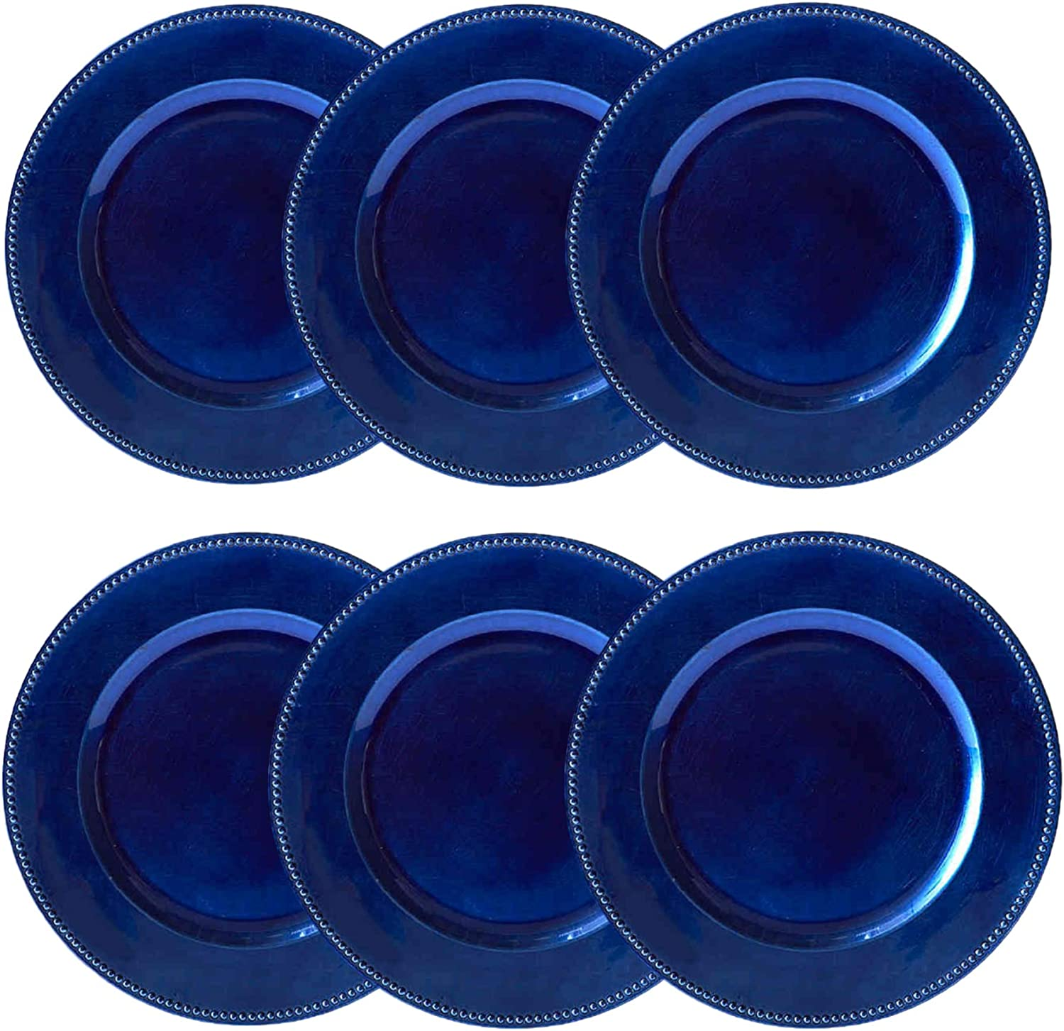Round Beaded Decorative Charger Plates, 13 Inches Round, Set of 6, for Dining Table or Décor (Blue)