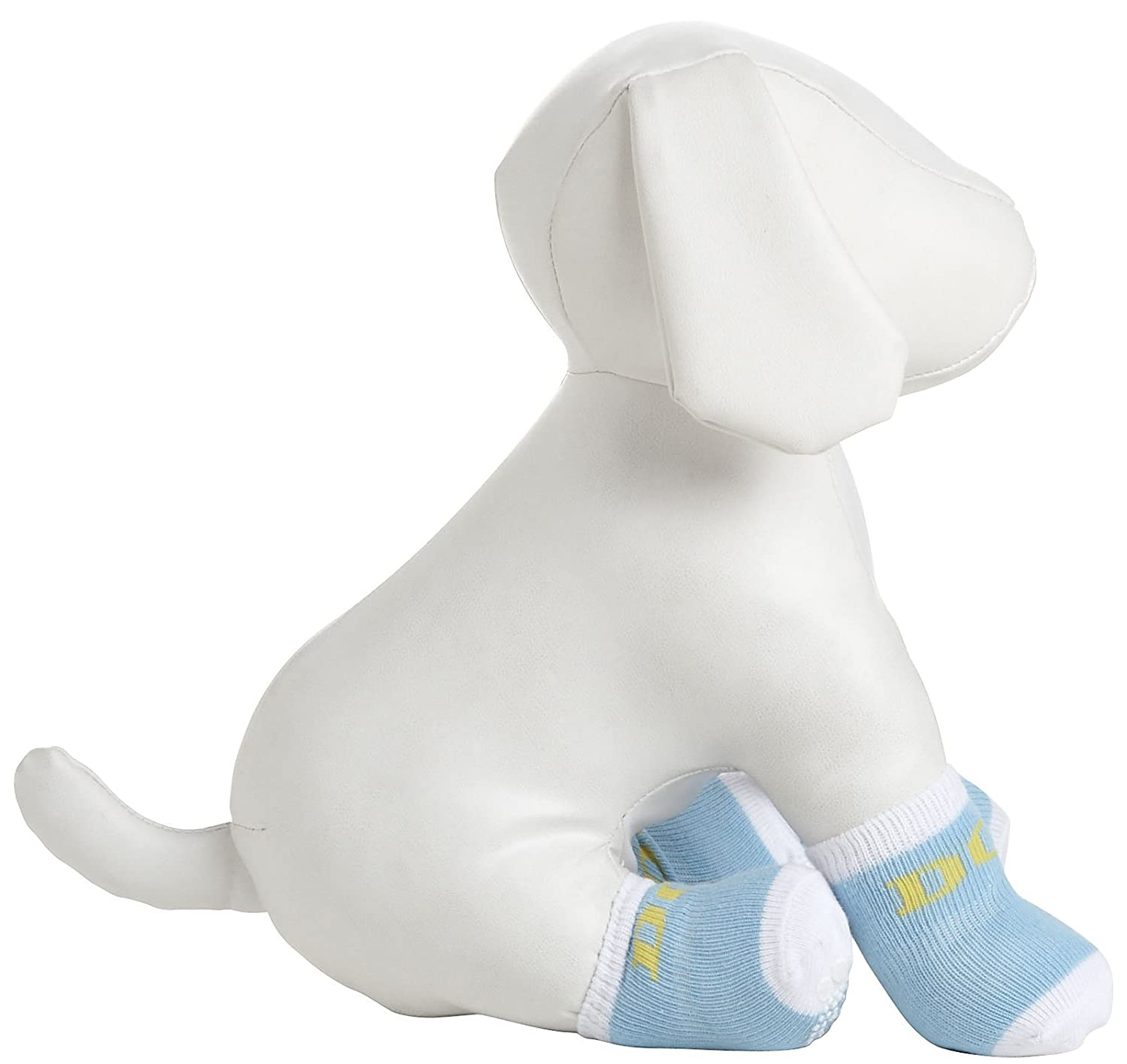Pet Life DPF09922 4-Pack Anti-Skid Soft Cotton Dog Socks with Rubber Sole Grip, X-Small Small, bluee White