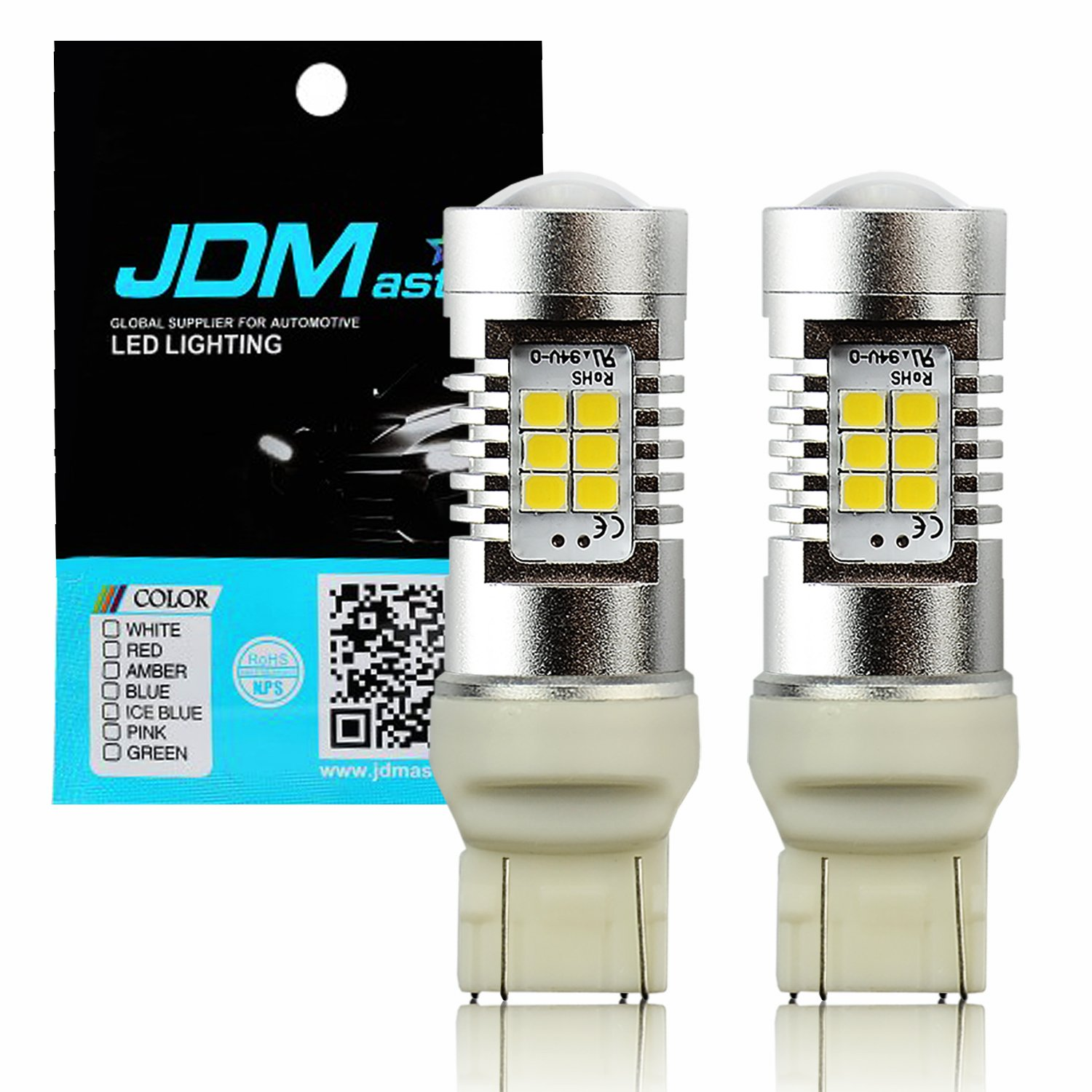 Amber Yellow JDM ASTAR Extremely Bright PX Chipsets 7443 7444 LED Bulbs