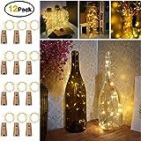 Sunniu 12 paquetes de luces LED de corcho, de alambre de cobre para botella de vino, con pilas, para dormitorio, fiesta,…