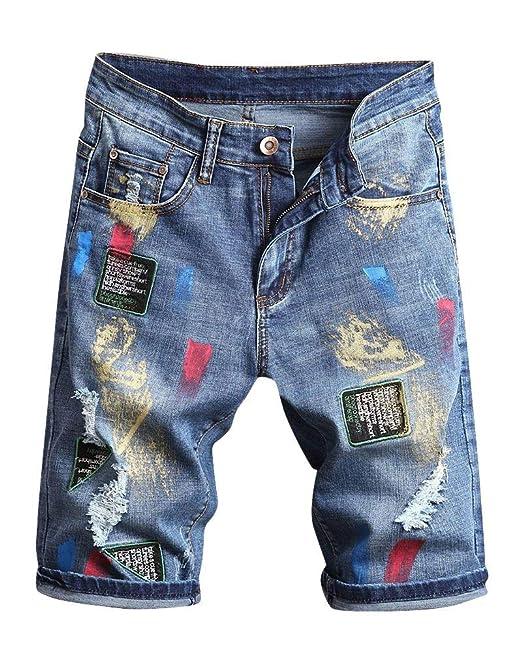 BOLAWOO-77 Pantalones Vaqueros para Cortos Parches Hombres ...