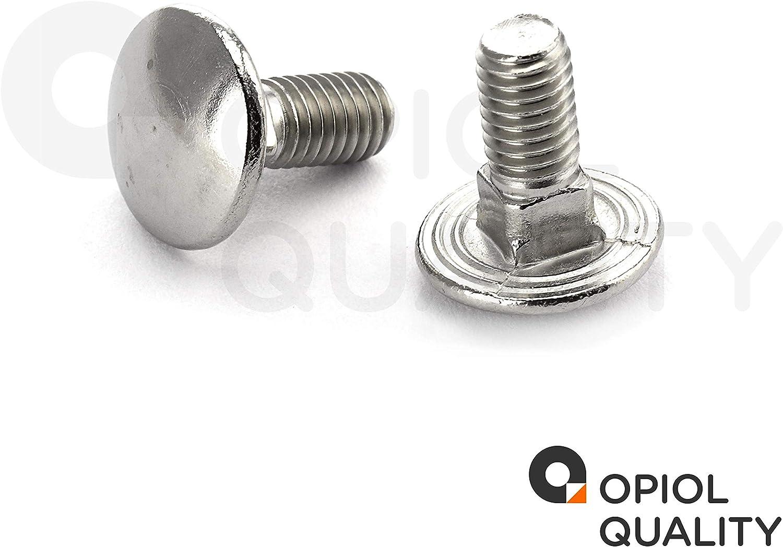 OPIOL QUALITY DIN 603 Schlo/ßschrauben mit Vierkantansatz 30 St/ück M10x100 Edelstahl A2 V2A Flachrund-Schrauben Schlossschrauben