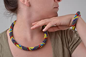 Collier Cadeau Fait Main Multicolores Perles Bracelet Spirale Femme pGUqzLSMV
