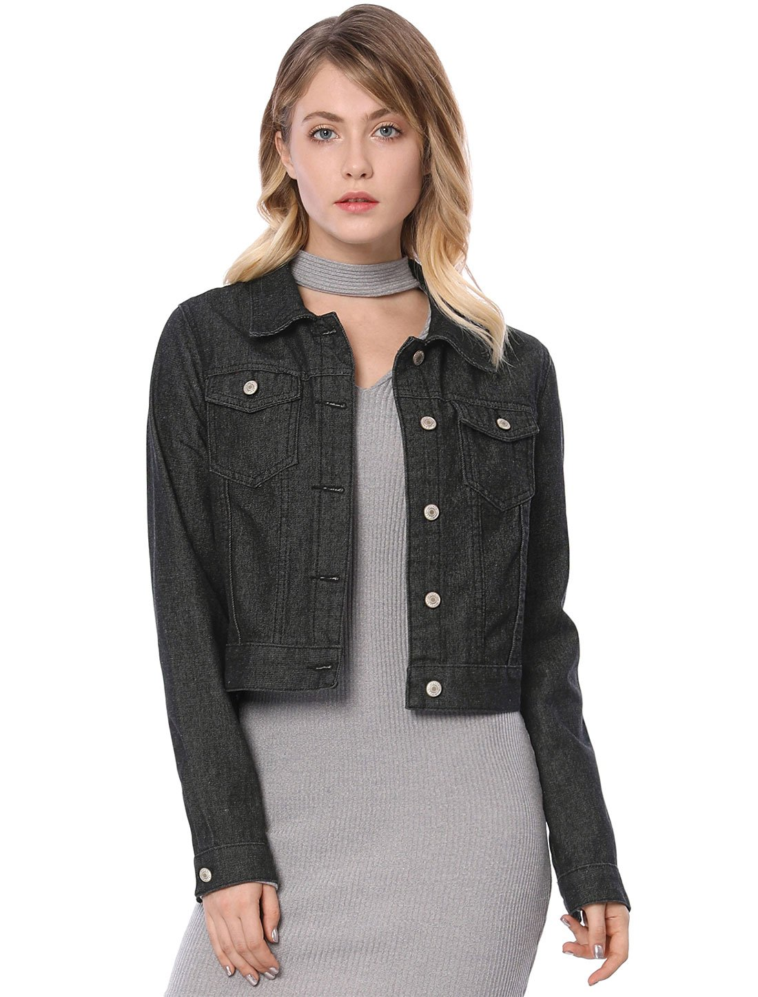 Allegra K Women's Long Sleeve Classic Denim Jacket XS Black