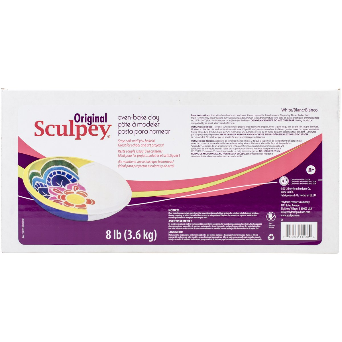 Sculpey S8 Original Polymer Clay, 8-Pound, White
