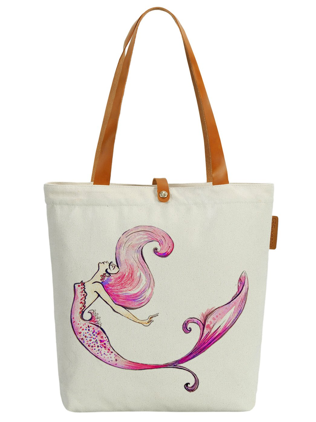 So'each Women's Colourful Mermaid Graphic Canvas Tote Shopper Shoulder Bag by So'each (Image #1)