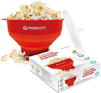 Housewares Solutions Collapsible Silicone Microwave Hot Air Popcorn Popper