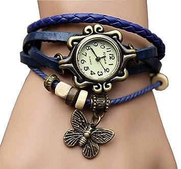 aohang Original Mujer Vintage Relojes, pulsera mariposa colgante, color azul