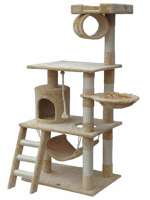 Estructura de ejercicio para gatos iPet de 142 cm con refugios y rascadores