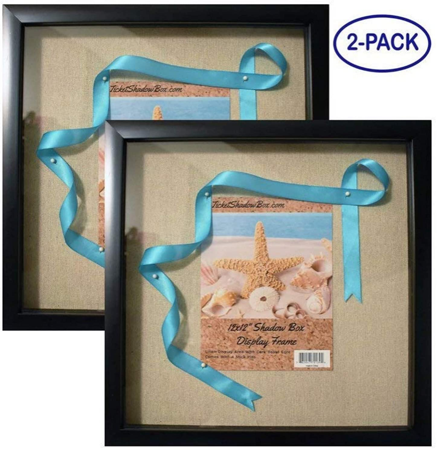 "12x12"" Display Shadow Box Frame (2-pack) with Linen Background - Ready To Hang Shadowbox Picture Frame - Easy to Use - Box Display Frame, Baby and Sports Memorabilia, Uniforms, Medals, Pins, Wedding. Tasse Verre"