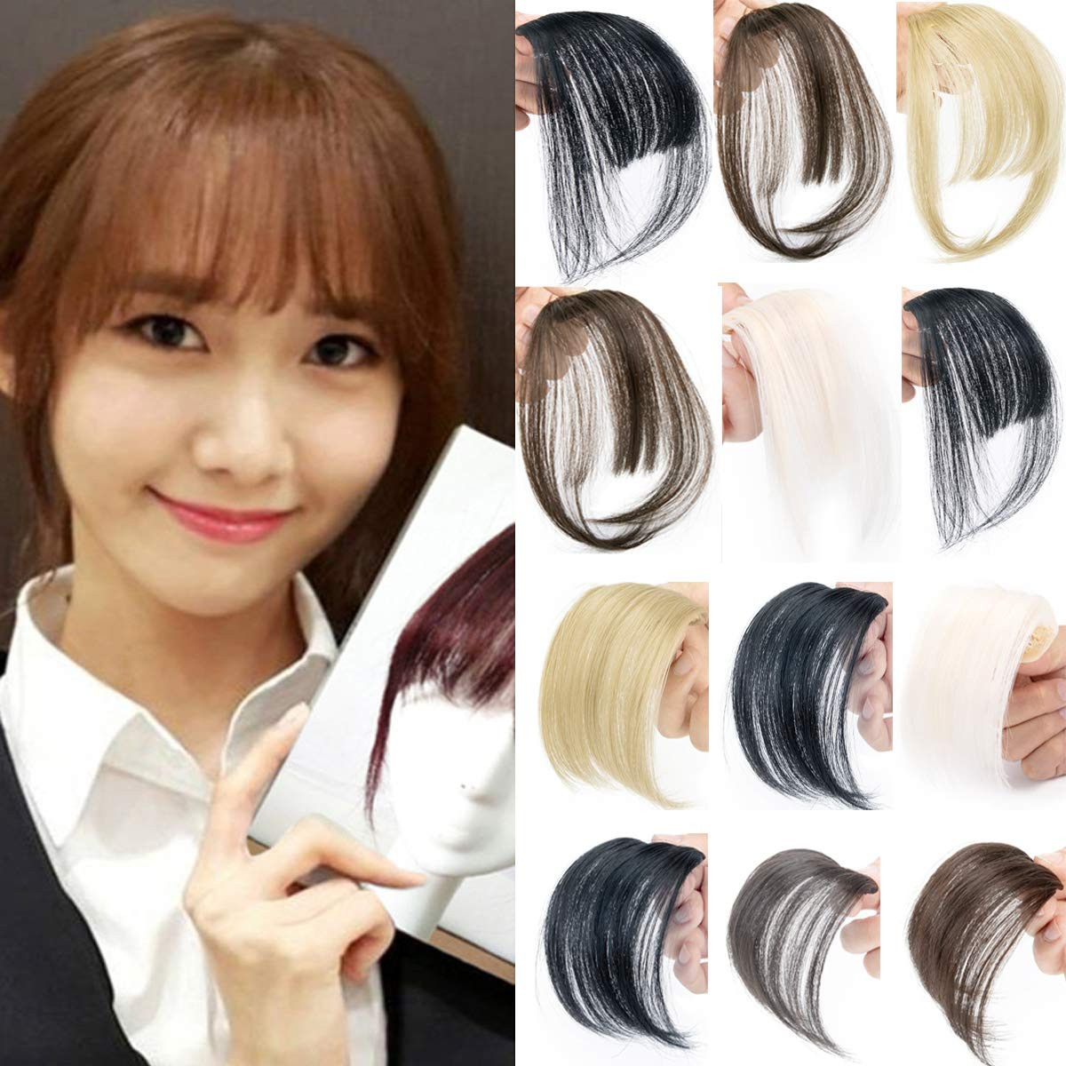 OMG One piece Fashion Air Hair Bangs Clip in Hair Extensions Front Neat Bang Fringe Clip on Straight Air Hair Bangs Hairpiece Accessories